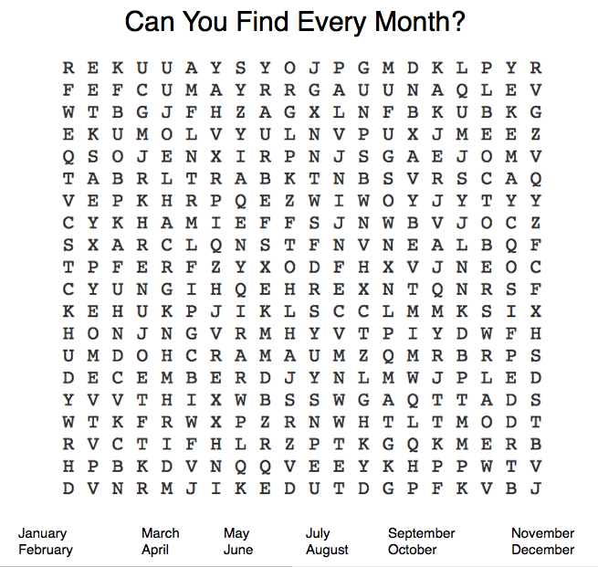 Months Word Search - Young & Independent Zine
